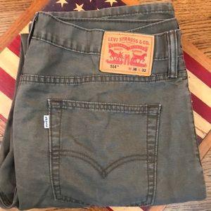 """LEVI'S 514 Jeans Men's  Size 36""""x32"""". Olive/Khaki"""